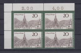 Bund 654 Eckrand Links Oben 4er Block Fremdenverkehr Freiburg 20 Pf Postfrisch  - Ohne Zuordnung