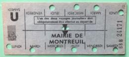 RATP METRO MAIRIE DE MONTREUIL - CARTE HEBDOMADAIRE ELEVE OU ETUDIANT - LIGNE 9 - Europa