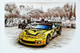 ► LE MANS (24 Heures Du Mans) -  Chevrolet CORVETTE C6R D'après François Bruère - French Art Card - Le Mans