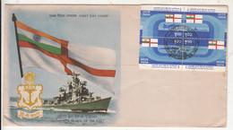 FDC Setenet Ship, Navy, Submarine Ship, Airplane, Defence, India 1984 President Fleet Review, - FDC