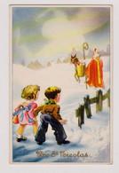 Vive St NICOLAS SINTERKLAAS SANTA CLAUS - Enfants Regardant Partir St Nicolas Et Son âne Dans La Neige - Non Circulée - San Nicolás