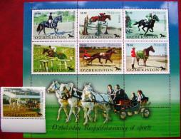 Uzbekistan  1999  Horses  Sports   M/S +1 V  MNH - Horses