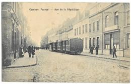 59 Nord COMINES Le Train Tramway Ligne Armentieres à Halluin 1915 Rue De La République - Other Municipalities