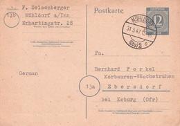 ALLIIERTE BESETZUNG - POSTKARTE 1947 MÜHLDORF > EBERSDORF /G66 - Zone AAS