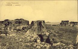 1915- Cartolina Libia Italiana Cirene Latomie Con Annullo Di Bengasi Partenze+bollo Comando Deposito Speciale Della Cire - Otras Guerras