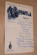 Ancien Menu Du Grand Hotel Bellevue à Evian-les-Bains ,20 Cm. Sur 13 Cm. - Menú