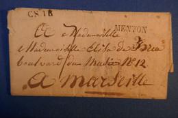 B36 FRANCE BELLE LETTRE ENV 1824 MENTON POUR MARSEILLE + CACHETS INTERESSANTS A VOIR - 1801-1848: Precursors XIX