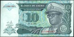 ♛ ZAIRE - 10 Nouveaux Zaires 24.06.1993 {printed By HDMZ} UNC P.55 - Zaire