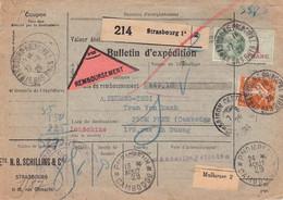Colis Contre Remboursement De Strasbourg Du 27 6 1929 Pour Pnompenh Cambodge Arrivée 13 8 29 - 1921-1960: Periodo Moderno