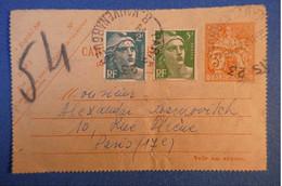 B21 FRANCE CARTE 1946 PARIS RUE HELENE + AFFRANCHISSEMENT EN PLUS PLAISANT - Telegraphie Und Telefon