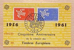 Souvenir Philatélique CEPT Affranchi Y & T N° 1309/1310 Europa Oblitération Exposition Philatélique Paris Europa 1961 - Bolli Commemorativi