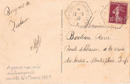 15c Semeuse Sur CP Ill De Quiberon Postée à L'agence Navale Embarquée Du Croiseur Tourville Le 12 8 1930 - Posta Marittima