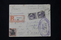ALLEMAGNE - Devant D'enveloppe En Recommandé De Stuttgart Pour Paris En 1920 Avec Cachet De Contrôle Postal - L 77740 - Cartas