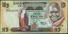 ♛ ZAMBIA - 5 Kwacha Nd.(1980-1988) UNC P.25 D - Zambia