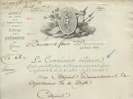 BEAU DOCUMENT ARMEES DU NORD & DE SAMBRE ET MEUSE / BRUXELLES POUR BRUXELLES / 4 FLOREAL AN 5 / SIGNE HERMAN /26 X 34 Cm - 1792-1815 : Departamentos Conquistados