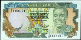 ♛ ZAMBIA - 20 Kwacha Nd.(1989-1991) UNC P.32 B - Zambia