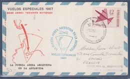 Carte Vol Spécial D'Argentine Vers L'Antarctique  Divers Cachets, Départ 1.9.67 Timbre Postes Aériennes - Posta Aerea