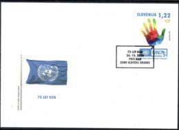 SLOVENIA,SLOWENIEN 2020,UNO,75 Ann.founding Of The UN United Nations Human Hand Color,FDC - UNO