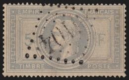 N°33, Napoléon Lauré 5f Gris-violet, Oblitéré GC 5104 SHANGHAI Chine - TB - 1863-1870 Napoleone III Con Gli Allori