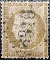 N°58a Cérès 10c Brun Foncé Sur Rose. Variété. Oblitéré Losange GC N°6376 Sussey - 1871-1875 Cérès