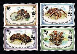 BIOT - 1993 - WWF - Yv. 131/34**, Mi 132/35**  MNH - Britisches Territorium Im Indischen Ozean