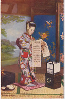 JAPAN - Young Lady Reading A Letter  - Signed Artcard - Raphael Tuck Oilette Twickenham PM 1905 - Asia