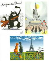 """Lot 3 CPM  La Tour Eiffel Et Les Chats """" Par Illustrateurs - Other"""