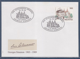 Suisse Enveloppe 1er Jour Georges Simenon Echandens-Denges 15.10.94, Timbre N°1463 - FDC