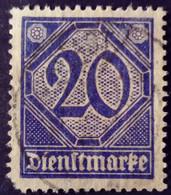 Allemagne Germany Deutschland 1920 Service Yvert 20 O Used - Dienstpost