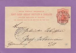 GANZSACHE VON LONDON NACH GROSS-SCHOENAU. - Stamped Stationery, Airletters & Aerogrammes