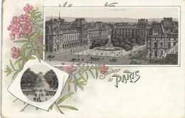 75 Paris Précurseur Litho Souvenir Louvre Et Grande Allée Des Tuileries - Otros