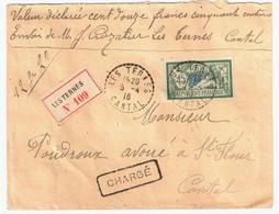 LES TERNES Cantal Lettre CHARGE Etiquette Reco Coupée 45c Merson Ob 1916 FB04 Verso  5 Cachets Cire CC Gothique - Briefe U. Dokumente