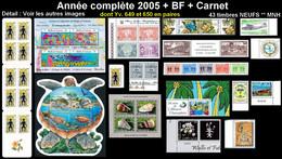 WALLIS & FUTUNA Année Complète 2005 + BF 19/20 + Carnet C645 : Yv. 628 à 650 Dont Paires + … ** MNH - 43 Tp Réf.W&F22635 - Full Years