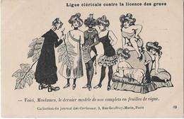 """""""Ligue Cléricale Contre La Licence Des Grues"""" --Caricature Satirique,anti Cléricale - Collection  Journal """"Les Corbeaux"""" - Satirische"""