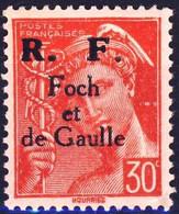 """Mercure 30C Rouge Surcharge """"FOCH DE GAULLE""""  Annee 1942 - Liberation"""