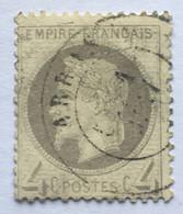 YT 27 (°) 1863-70 Napoléon III 4c Gris CaD Arras Pas-de-Calais (90 Euros) – Ciel - 1863-1870 Napoleon III With Laurels