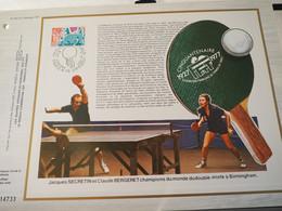 France Feuillet CEF - Premier Jour - FDC Tennis De Table - Premier Jour, Paris Et Annecy (17/12/1977) - 1980-1989