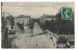 Chalon Sur Saone - Le Boulevard Et Rue D'autun - Transport D'un Poteau - Chalon Sur Saone
