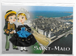 Carte Brodée Folklore De Bretagne SAINT MALO Vue Aérienne Et Couple En Costume Folklorique - Neuve Sous Blister - Ricamate