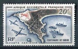 "TIMBRE** De 1958 D'A.O.F. De La Poste Aérienne ""20 F. - CENTENAIRE DE DAKAR - Plan Du Port Et De L'Aéroport De Dakar"" - Gebruikt"