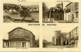 Souvenir De Neffies. La Poste Et L'Eglise, Cave Cooprérative, La Place Et Vue Générale. (Hérault). - Otros Municipios
