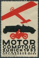 AUTO-MOTO-AVIATION Motor Comptoir 1932 Zürich Schweiz Suisse Vignette Poster Airplane Car Motorcycle Cycling Switzerland - Ohne Zuordnung