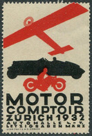 AUTO-MOTO-AVIATION Motor Comptoir 1932 Zürich Schweiz Suisse Vignette Poster Airplane Car Motorcycle Cycling Switzerland - Sin Clasificación