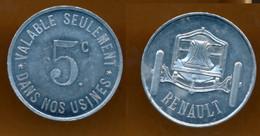 JETON PUB // BOULOGNE-BILLANCOURT // Etablissement RENAULT // 5 Centimes - Monetary / Of Necessity