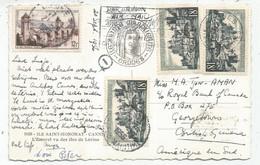UZERCHE 18FRX3+12FR VALENTRE CARTE PAR AVION CANNES 21.9.1959 POUR GEORGETOWN BRITISH GUIANA DESTINATION RARE - 1921-1960: Periodo Moderno