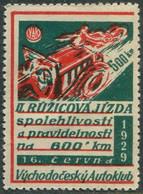 AUTO-MOTO Czechoslovakia 1929 Východočeský Autoklub II 600 Km Race Vignette Poster Car Motorcycle Motorrad Reklamemarke - Auto's