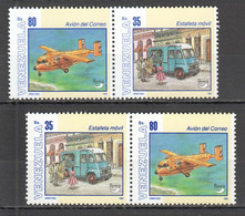 E319 1994 VENEZUELA POSTAL TRANSPORT AVIATION CARS AMERICA UPAEP COLUMBUS ANNIVERSARY 2SET MNH - Auto's