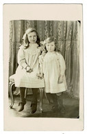 Ref 1428 - Unusual 1910 Christmas Postcard With Real Photo Of Two Children - Dog Success - Fotografia