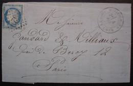 Montrichard 1875 Loir Et Cher Gc 2520 Lettre Pour Paris, Cachet Bercy Au Revers - 1849-1876: Classic Period
