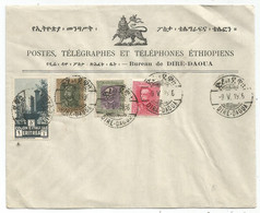 ERITREA 1 LIRE +30C+50C+75C LETTERA COVER PTT BUREAU DE DIRE DAOUA 9.V.1919 - Eritrea